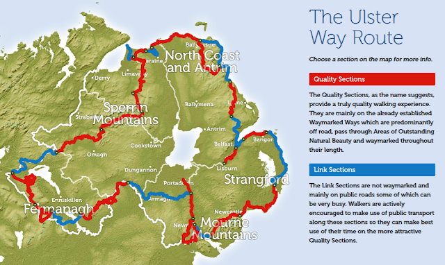 The ulster way map via https://www.walkni.com - growourown.blogspot.com