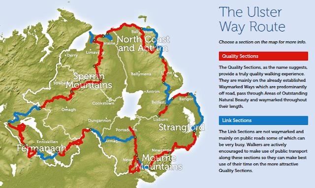 The ulster way map via https://www.walkni.com - growourown.blogspot.com