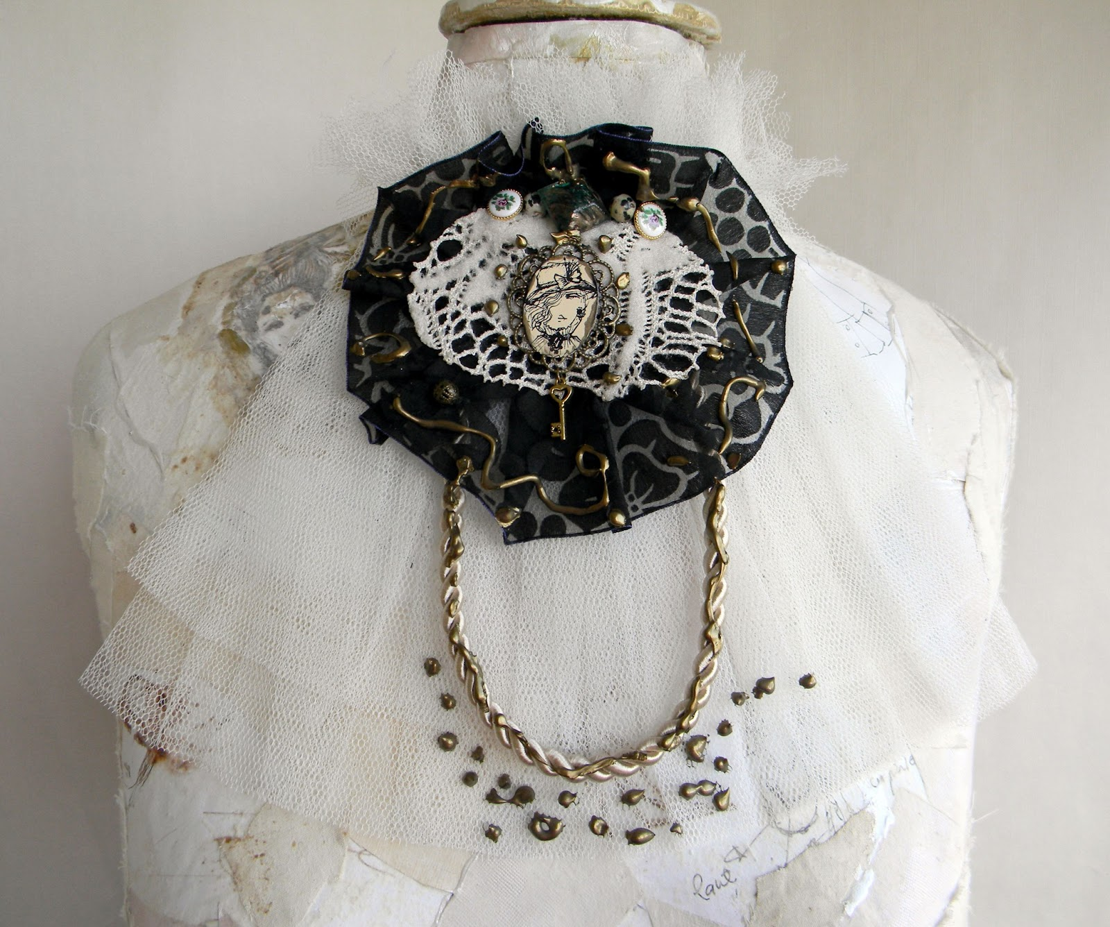 Unique Handcrafted Jabot Fashion Victorian Accessory Gothic Jewelry