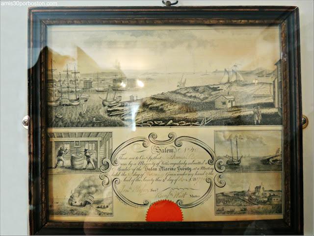 Certificado de la Sociedad Marina de Salem de Nathaniel Ropes III