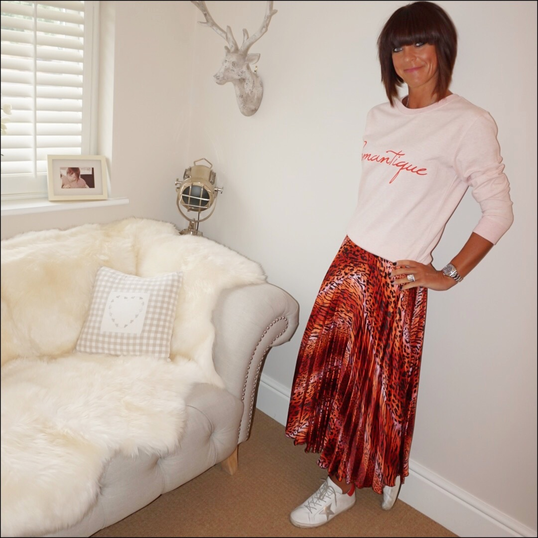 my midlife fashion, love sweat and tees romantique sweat, asos satin leopard print pleated maxi skirt, golden goose superstar low top leather trainers
