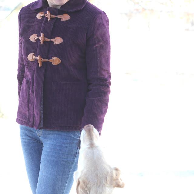Grainline Cascade Duffle Coat made from Sewing Studio Wine Corduroy