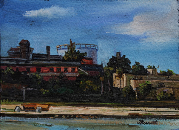 plein air oil painting of the ethanol tanks and bone char house of the CSR Distillery and the Walter Burley Griffin Incinerator by the industrial heritage artist Jane Bennett