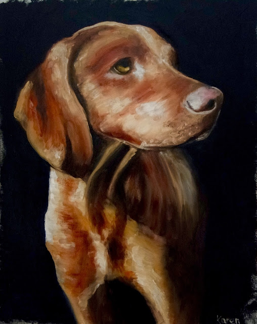 Watchful - oil painting of a hound dog