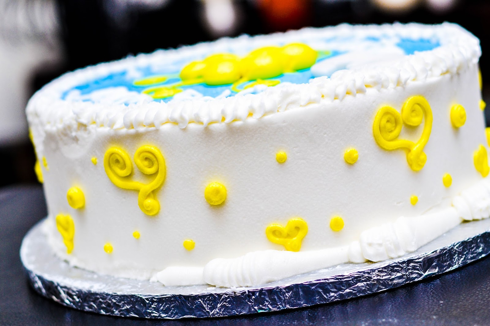 White Icing with Yellow Hearts and Dots