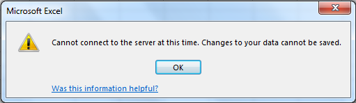 Cannot connect to the server at this time  Changes to your