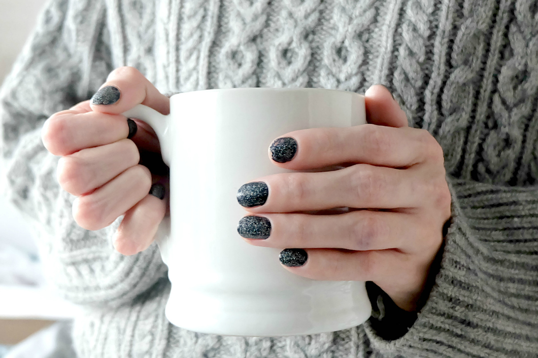 essie midnight cami, nails inc holographic top coat