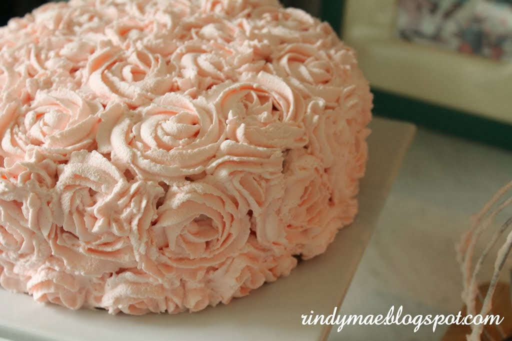 Rindy Mae 4 Layer Raspberry Cake With Whipped Cream Rosettes