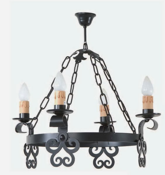 lampara de forja rustica, lampara medieval