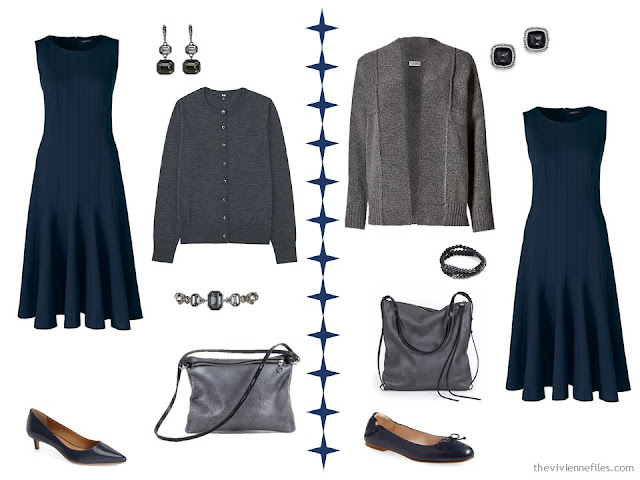 Two ways to wear a navy dress with charcoal or dark grey accents