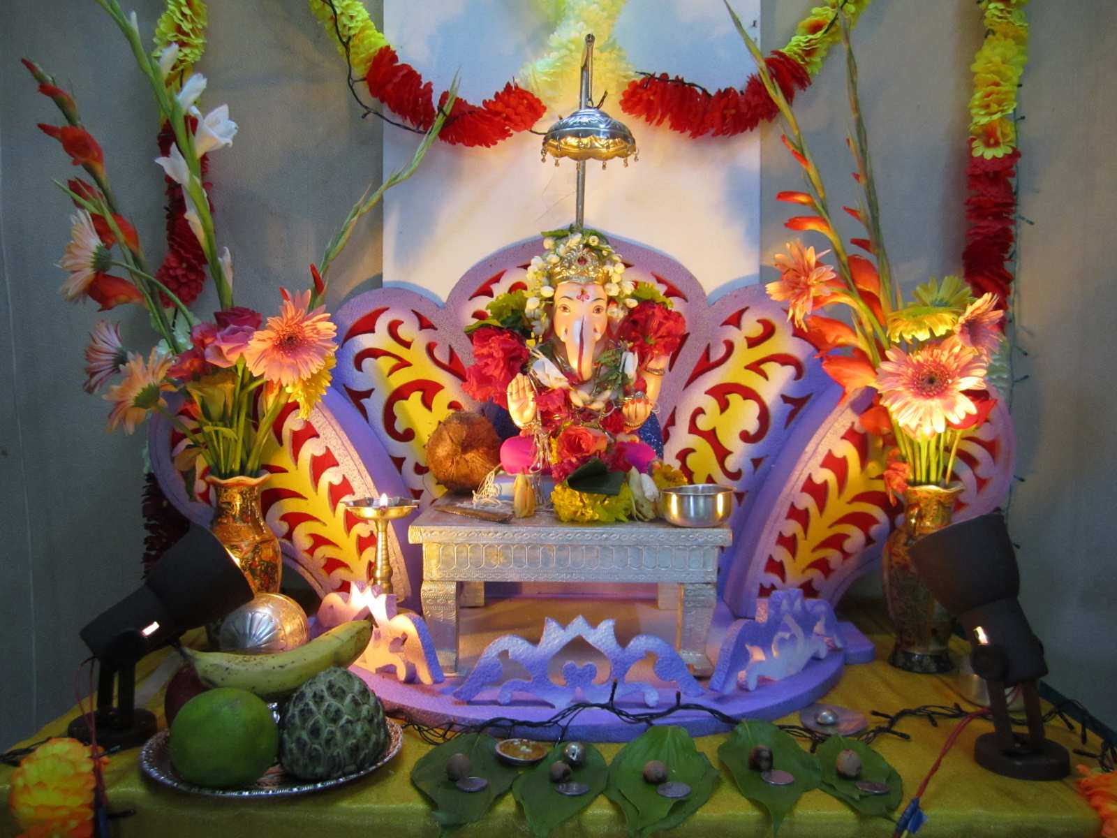 Background decoration for ganpati at home home decor for Background decoration for ganpati