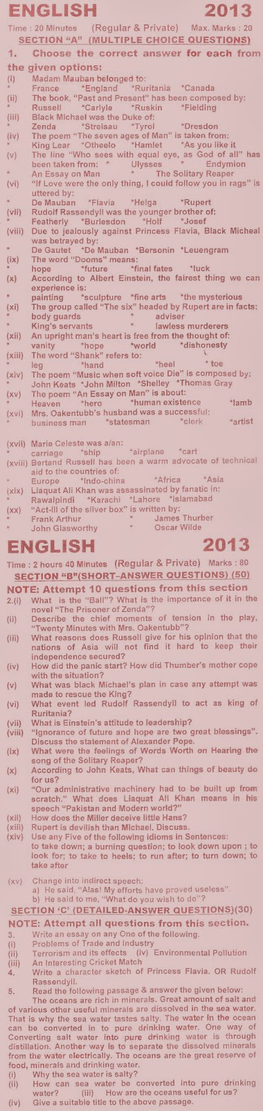 English model paper for intermediate 2nd year Custom paper Example