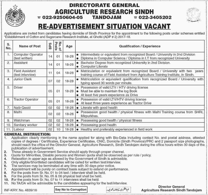 Directorate General Agriculture Research Sindh vacancies-2017,sindh jobs,assistant jobs,labour jobs,naib qasid jobs,computer operator jobs,malhi jobs,sanitary worker job,tractor operator jobs