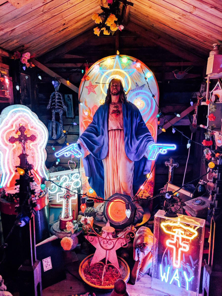 Religious iconography is also found amongst the chaos in God's Own Junkyard