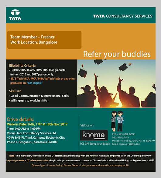 Walk-In Drive for Freshers on 17 & 18 Nov, 2017 @ TCS