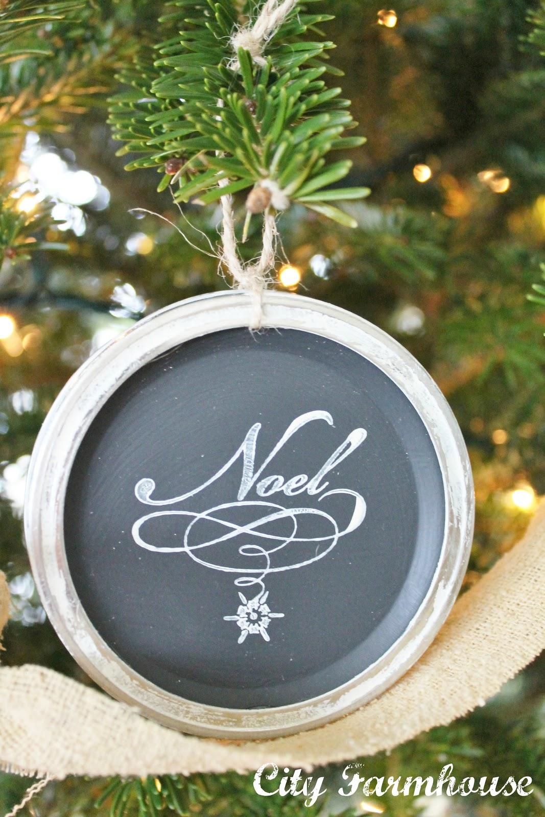 Mason Jar Chalkboard Lid OrnamentsRecycled Christmas