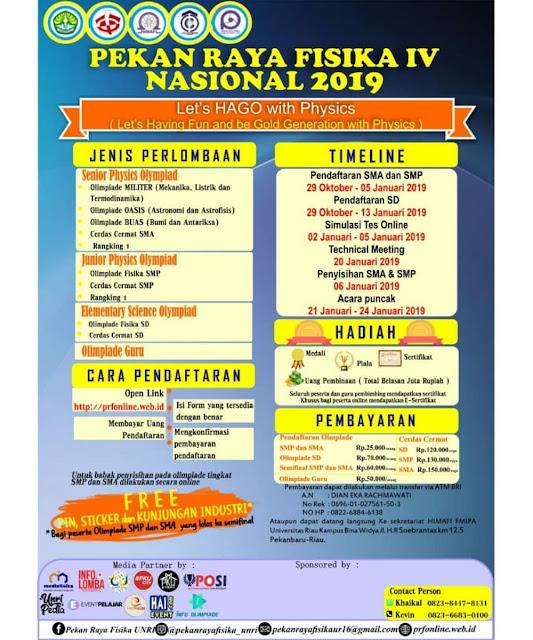Olimpiade Pekan Raya Fisika IV Nasional 2019 SD-SMP-SMA
