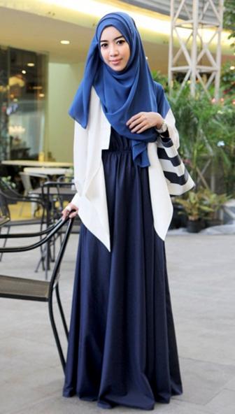 jubah gamis muslim berbahan satin