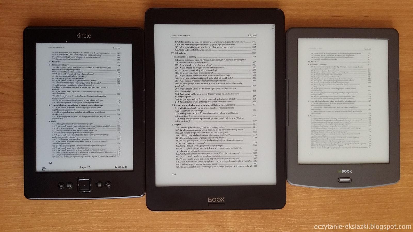 Kindle 5, Onyx Boox Nova, InkBOOK Classic 2  – porównanie ekranów