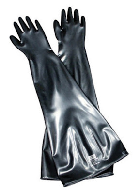 "Honeywell - North Safety 10B1532A/8H Butyl Glovebox Gloves 32"" Long, 15 Mil, 10"" Cuff/Port, Size 8.5"