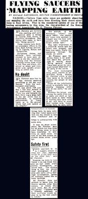 Flying Saucers Mapping Earth - The Examiner (Launceston, Tasmania) 10-29-1954