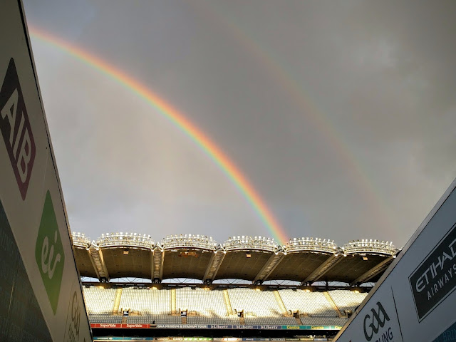 Rainbow over Croke Park stadium in Dublin, Ireland