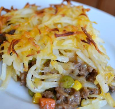 Hashbrown Hamburger Casserole with Veggies and Cheese