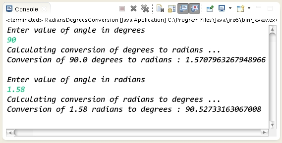 How to convert degrees into radians and radians into degress using