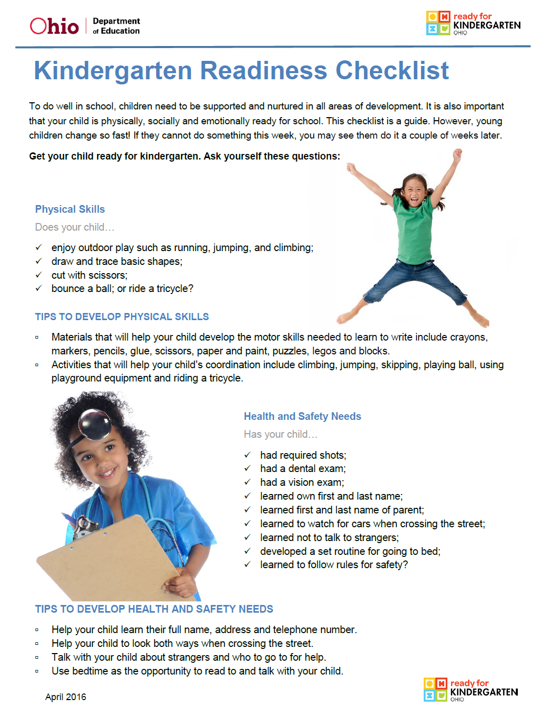 Preschool Ponderings Kindergarten Readiness Checklist