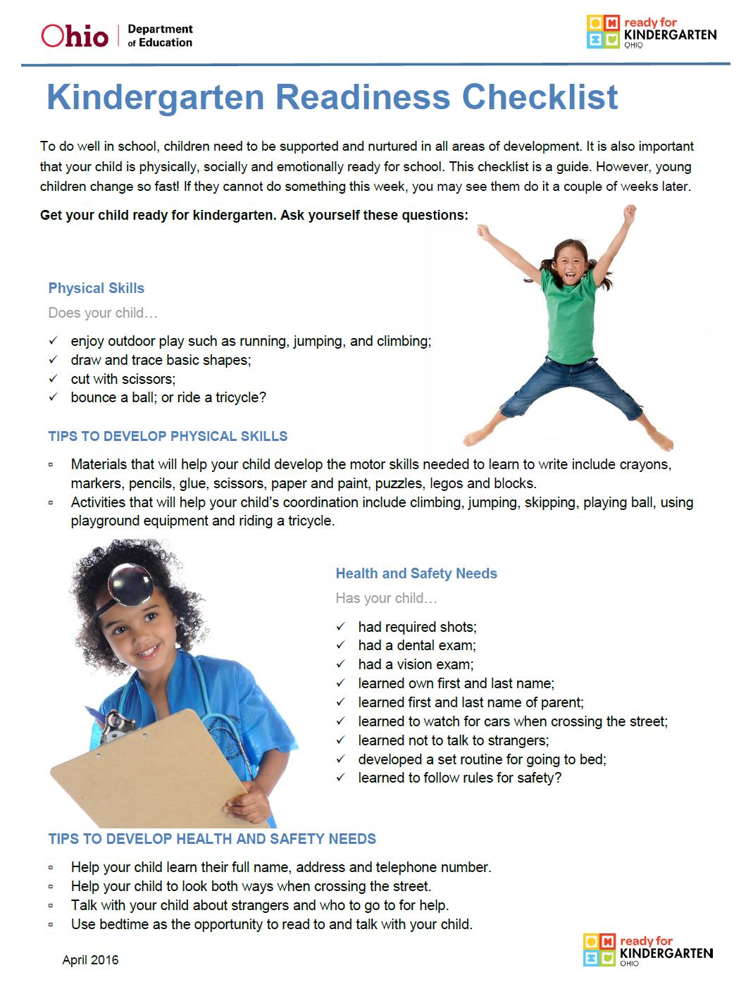 Preschool Ponderings Kindergarten Readiness Checklist