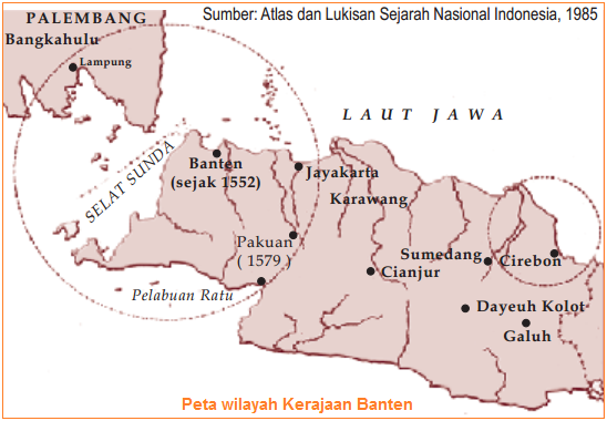 Peta wilayah Kerajaan Banten