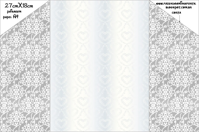 Damask in Silver: Free Printable Envelope and Cards or Invitations.