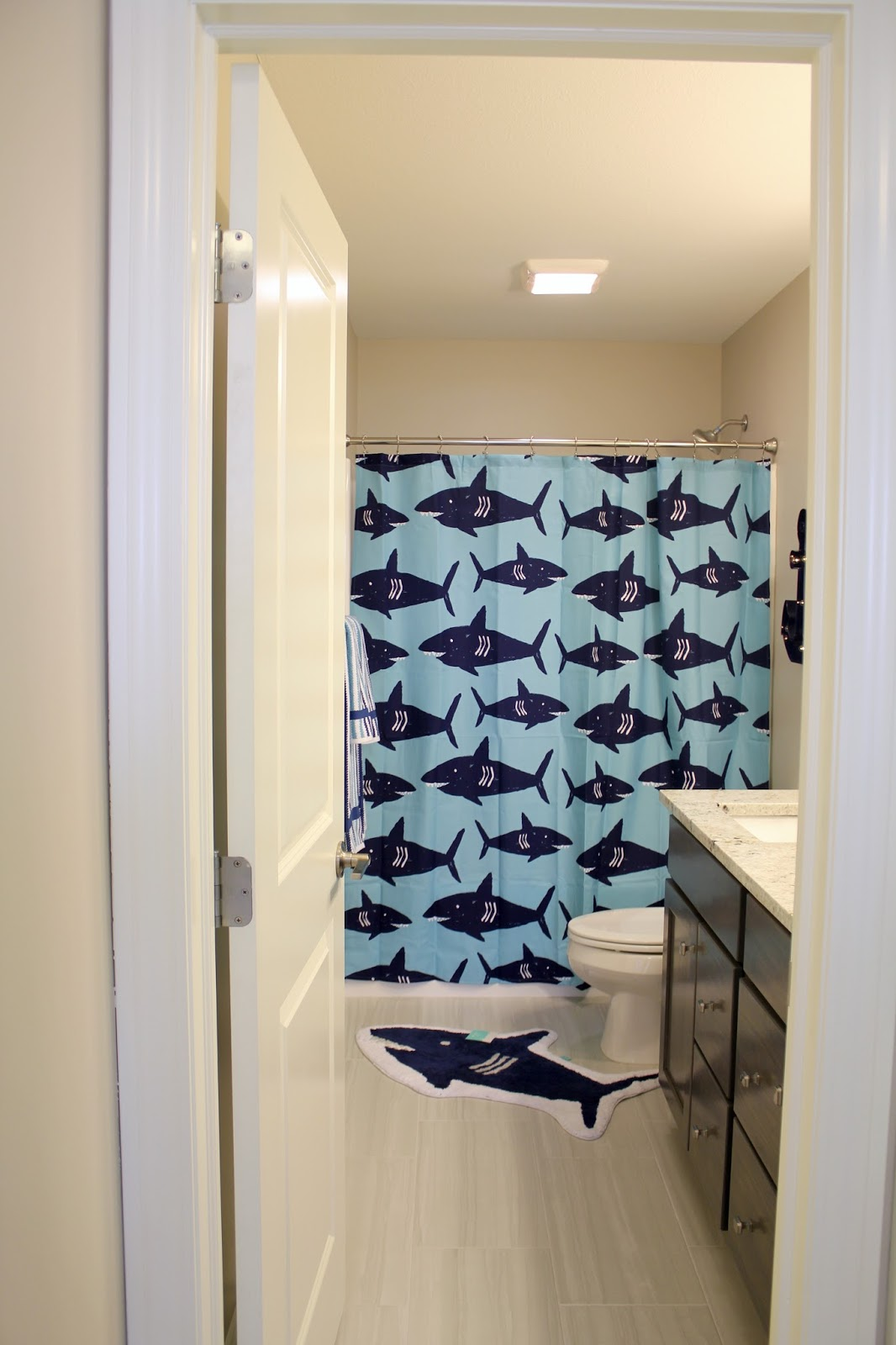blue shark kids bathroom
