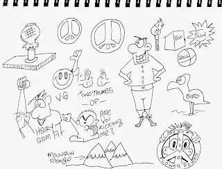 boon cartoonist for hire, peace sign, mountain, smiley face