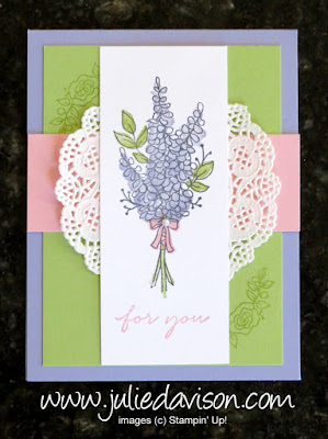 Stampin' Up! Sale-a-Bration 2018 Lots of Lavendar Spring Card ~ www.juliedavison.com