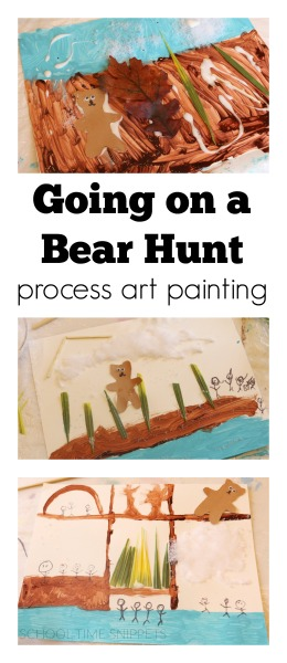 Child led process art painting Going on a Bear Hunt