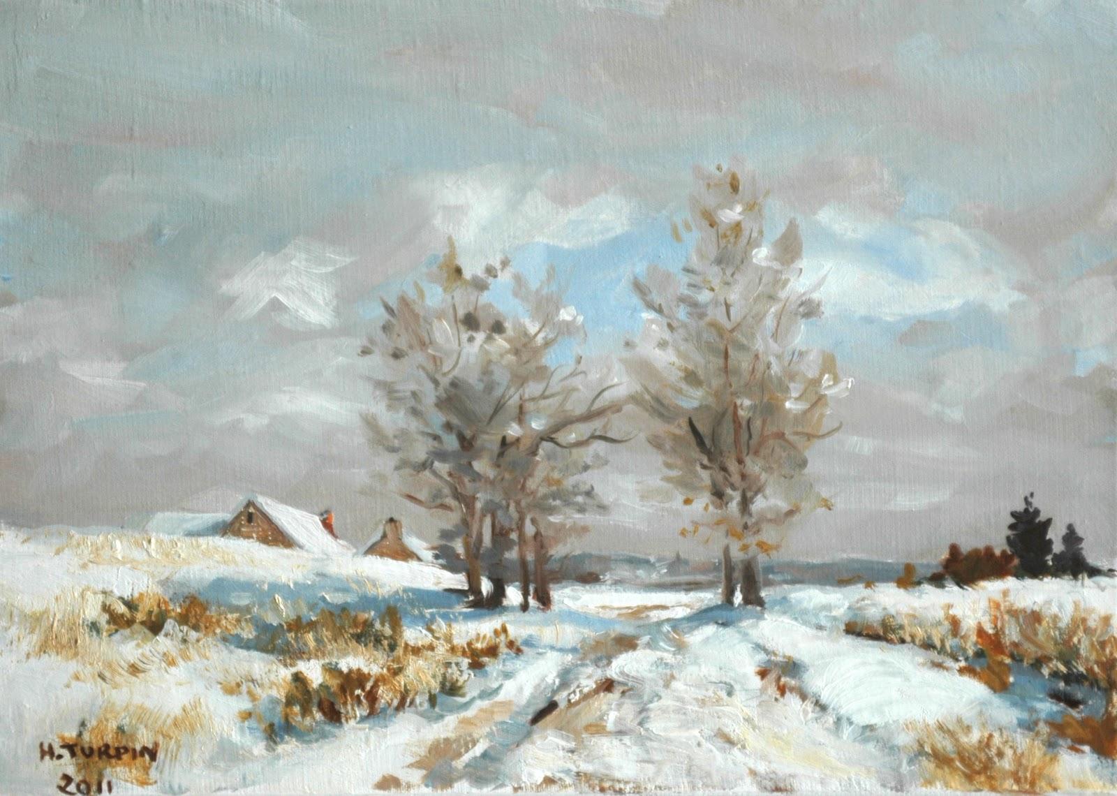 Herv turpin la neige barbizon huile sur toile 27x19 3p for Barbizon peintre