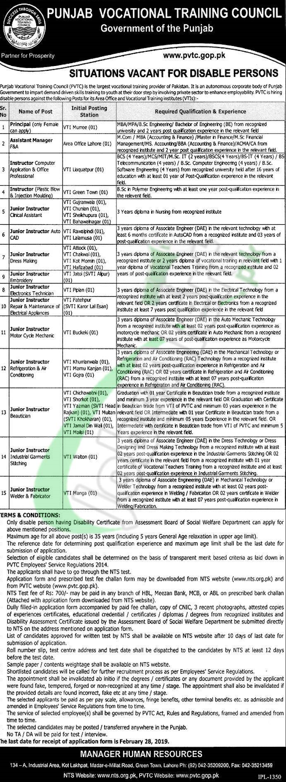 Vocational Training Council  job 2019 NTS