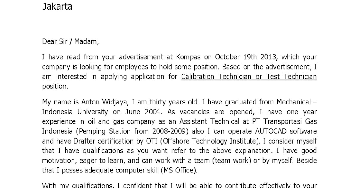 contoh cover letter fresh graduate mechanical engineering