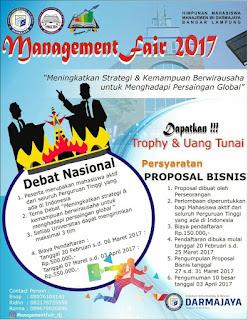 Lomba Debat Nasional Management Fair 2017 di IBI Darmajaya