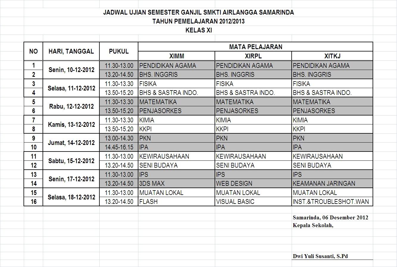 SMK TI Airlangga Samarinda: Jadwal Ujian Semester Ganjil