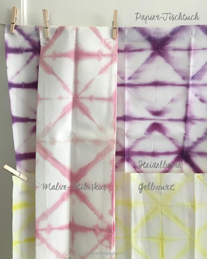 schaeresteipapier: Shibori mit Farbe aus Beeren