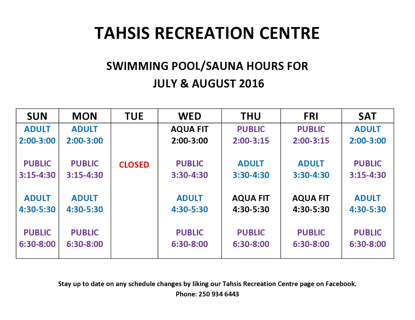 Tahsis living new revised swimming pool schedule for summer - West vancouver swimming pool schedule ...