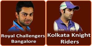 कोलकाता नाइट राइडर्स बनाम रॉयल चैलेन्जर्स बंगलौर 12 मई 2013 को है।