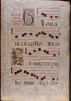 "A page from a medieval antiphonal including the floriated ""G."""