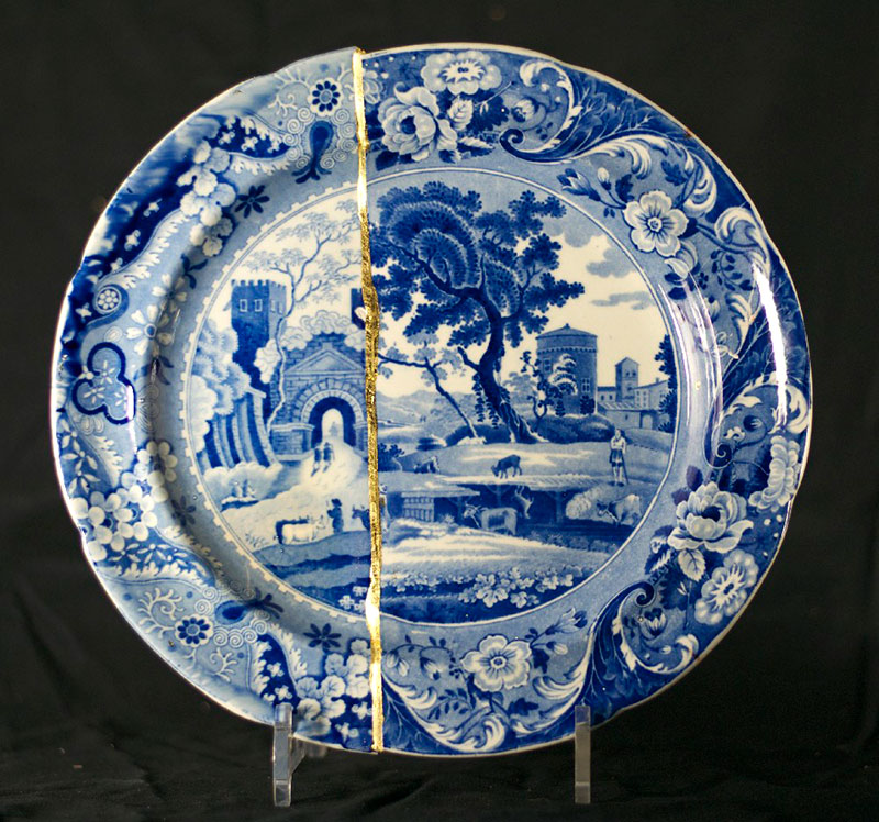 Antique Blue White Chinese  / Japanese Porcelain Bowl Boys Chasing Butterflys Antiques Asian Antiques