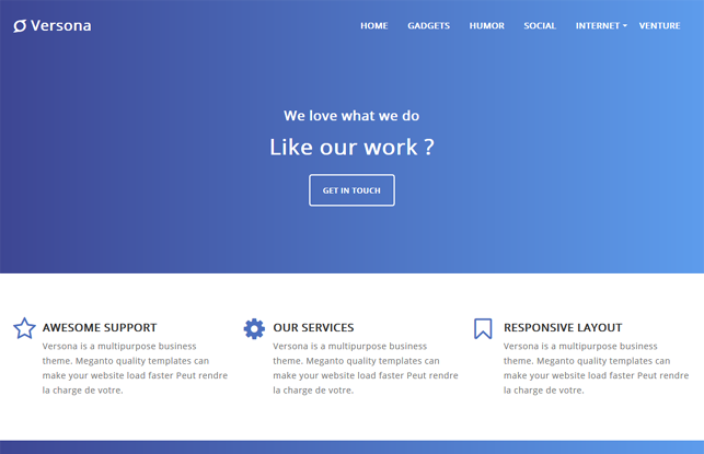 Versona is a premium style gradient blue color template design for brands and portfolio websites.