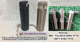 Tumbler Stainless BT-33 yang biasa disebut Termos Vacuum Flask, Grosir Souvenir Tumbler Promosi, TUmbler termos minum panas dingin, Botol Termos Promosi