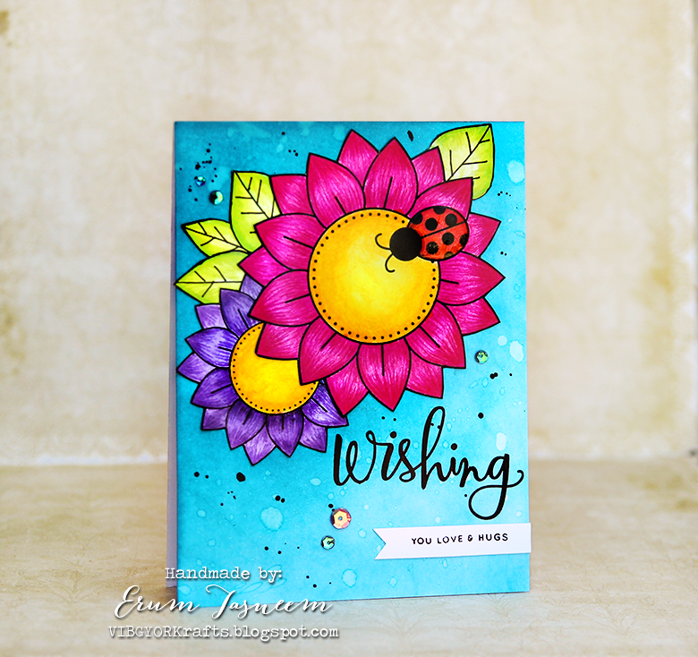 Newton's Nook Designs sunflower, colored using Faber castell pencils and Crayola markers. Stamp by Simon Says Stamp.