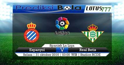 Pertandingan : Espanyol vs Real Betis Liga : La Liga Hari/Tanggal : Selasa/31 Oktober 2017 Pukul : 03.00 WIB Stadion RCDE Siaran TV : beIN sports 2 Indonesia